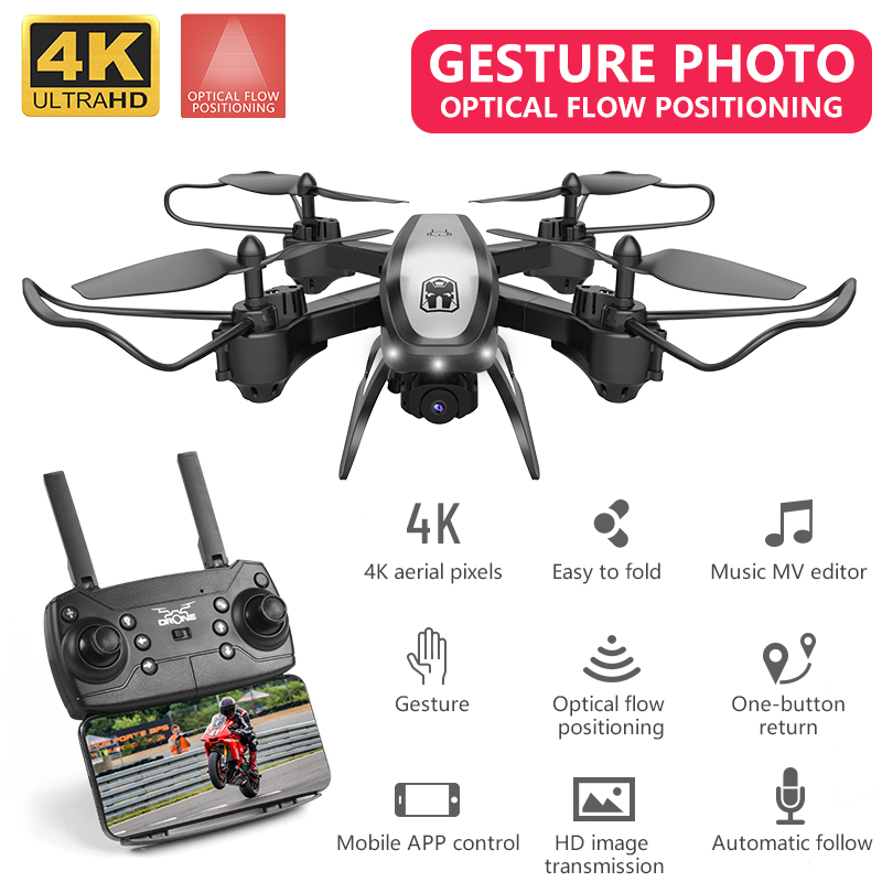 4K Camera Drone WiFi FPV Wide Angle Optical Flow Quadcopter RC Helicopter Foldable Professional Drones Boy Toys VS SG901 Gift