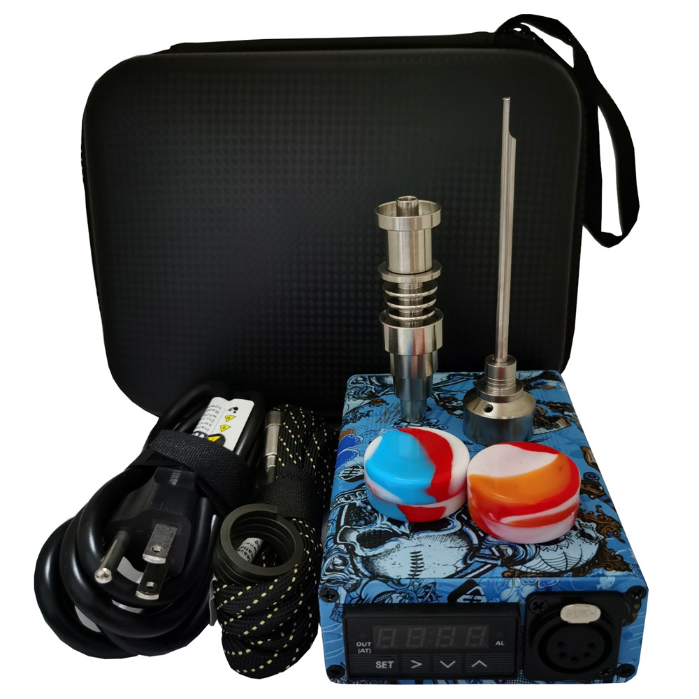 Graffiti Enail Dab Kit Electric Dab Nail Pen Rig Wax PID TC Box with Domeless Coil Heater 6 in 1 Hybrid Ti Nail for glass bongs image