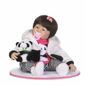 55cm reborn baby doll toy black baby girls realistic alive silicone doll play house toys wonderful birthday gift toys for girls Realistic Alive 22'' Reborn Silicone Vinyl Baby Handmade Doll Panda Outfit Gifts Toys for Girls