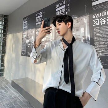 Men Tie Long Sleeve Loose Casual Shirts Male Vintage Fashion Streetwear Hip Hop Party Dress Shirts Stage Show Costumes Harajuku