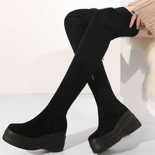 women cow leather stretchy high heel over the knee high military boots round toe wedges platform pumps slim leg fashion sneakers Fashion Sneakers Women Stretchy Genuine Leather Wedges High Heel Over The Knee Boots Female Round Toe Thigh High Platform Pumps