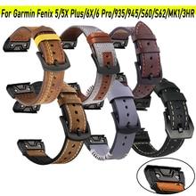 Cinturino in pelle 22/26mm per Garmin Fenix 6/6X Pro/5X/5 Plus/935/945 cinturino a sgancio rapido per cinturino Fenix 3 HR/MK 1 Smart Watch