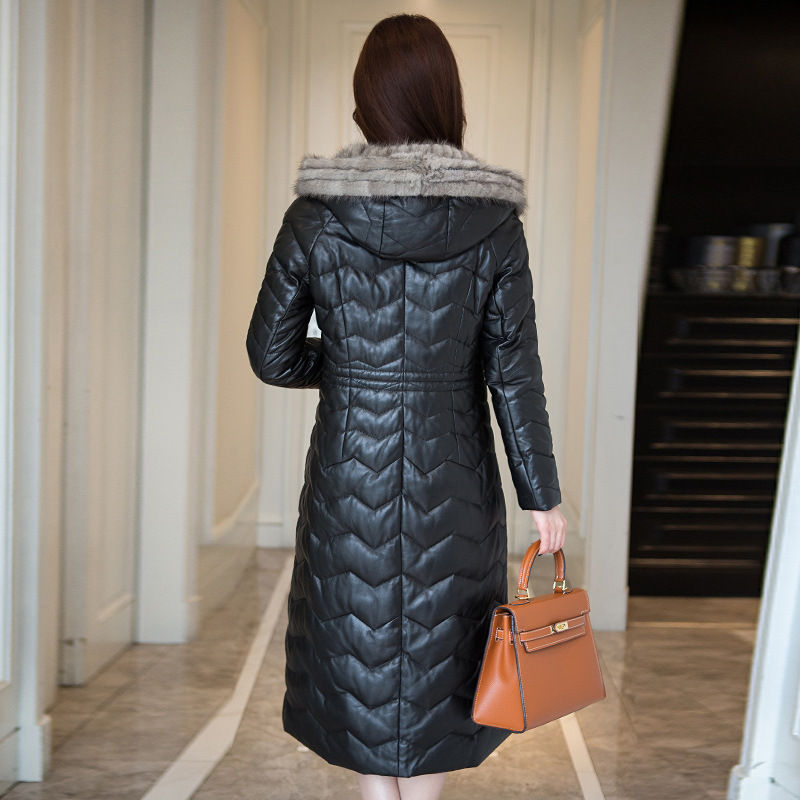 Geniune Sheepskin Leather Woman Mink Hair Collar Hooded Jacket Jaqueta De Couro Chaquetas HQ18-YFG8206B MF095
