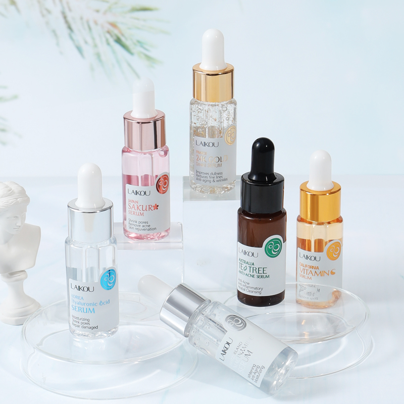 LAIKOU Sakura Face Serum Extract Shrink Pores Remove Acne Liquid Moisturizing Face Essence Hyaluronatic Vitamin C Face Skin Care