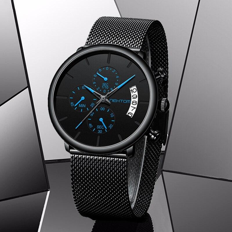 NEKTOM Men's Watches Quartz Watch Waterproof Watches Mesh Strap Wristwatch Watches For Men Clock Mens Man Sports Watch Relojes