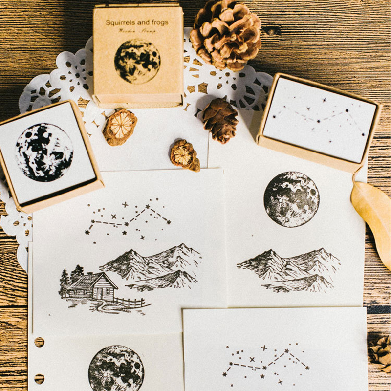 Image 5 - XINAHER Vintage Plants ginkgo star moon stamp DIY wooden rubber stamps for scrapbooking stationery scrapbooking standard stamp-in Stamps from Home & Garden