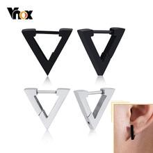 Vnox Geometrische Dreieck Pentagon Hoop Ohrringe für Männer Frauen Unisex Edelstahl Ohr Zubehör Chic Minimalistischen Schmuck