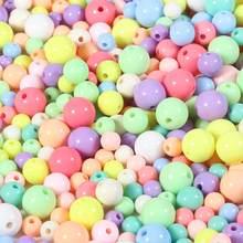 Grânulos redondos acrílicos do espaçador da bola da cor dos doces de 4mm-12mm para a jóia que faz diy acessórios da joia para o artesanato