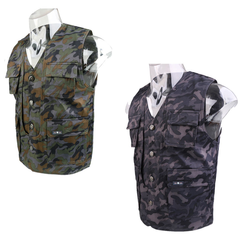Mens Fishing Quick Dry Single Breasted Vest Photography Multi-Pocket Waistcoat