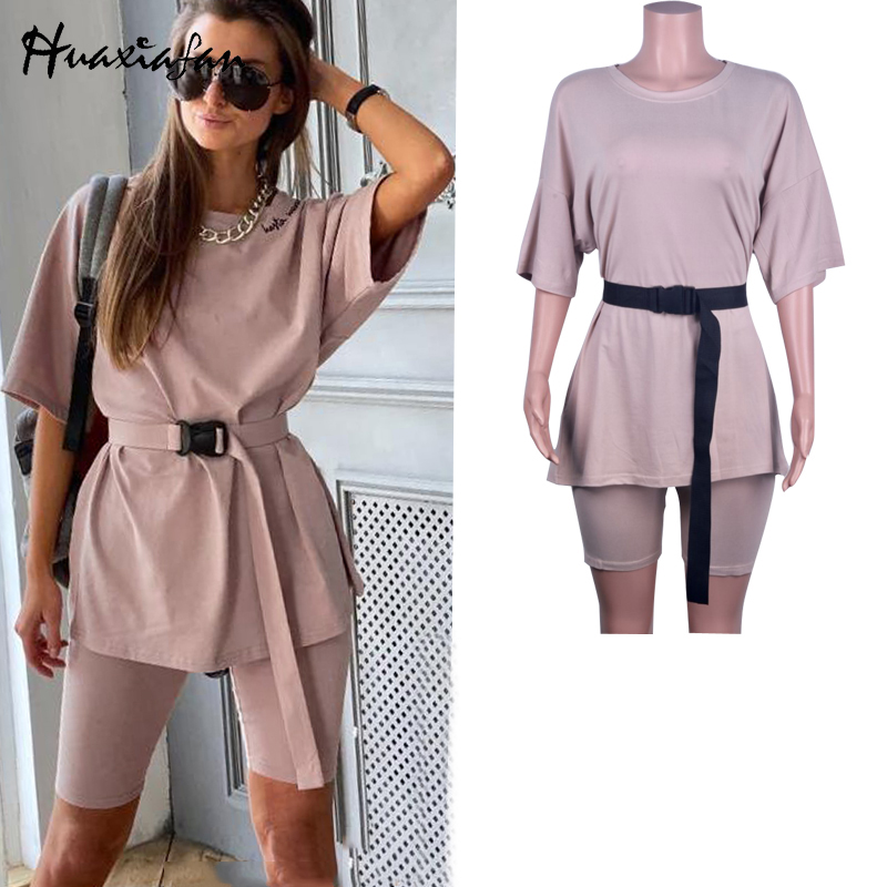 Huaxiafan Casual Solid New Two Piece Set Women Including Belt Solid Color Home Loose Sports Fashion Leisure Suit Summer 2020
