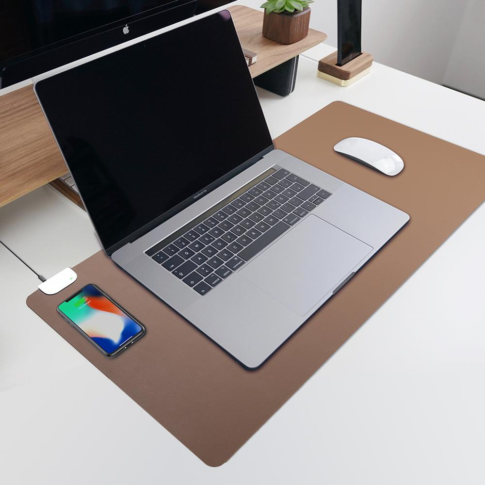 Wireless Charging Pad Mobile Phone Charger Desk Mats for all QI-enabled device PU leather Keyboard desk pad