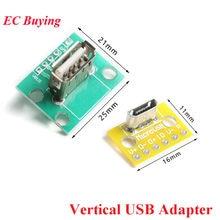 Vertical usb microusb micro usb 2.0 cabeça fêmea um conector 2.54mm pcb conversor adaptador breakout placa de teste 180 graus vertical