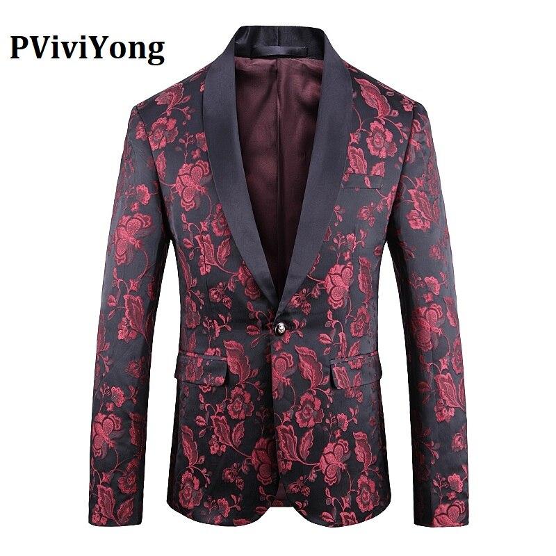 PViviYong Brand 2019 High Quality Suit Top For Men Blazer British Style Fashion Suit Men Slim Fit Suit Jacket Men Coat 1916