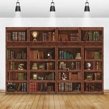 Laeacco Wooden Bookshelf Library study Photography Backdrop For Books Home Decor Children Shower Photo Background Photo Studio