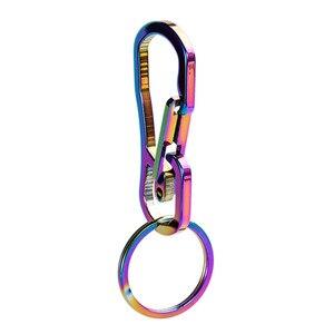 QOONG hommes acier inoxydable porte-clés porte-clés couleur plaqué titane métal porte-clés boucles de ceinture bibelot voiture porte-clés Y81