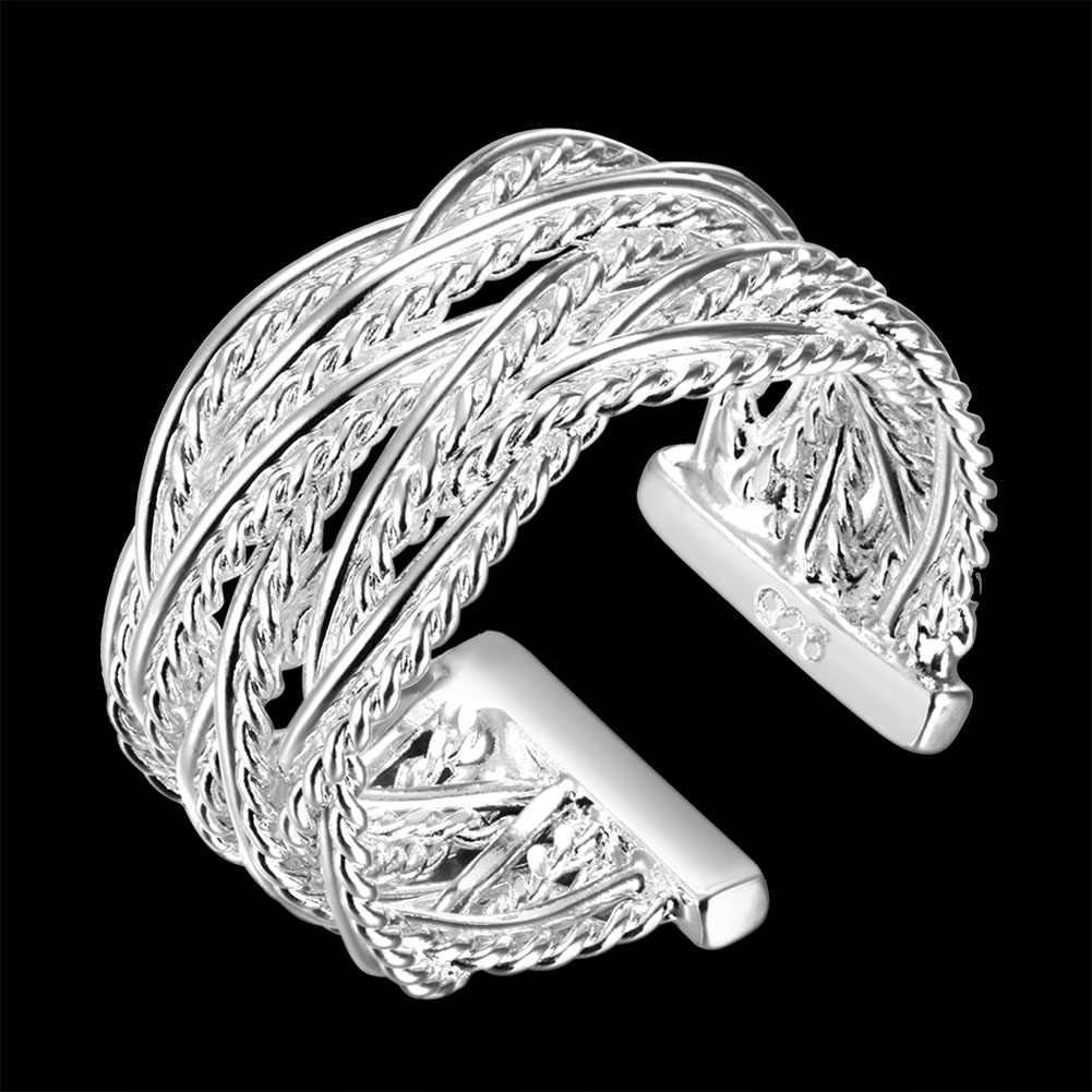 Unisex เงิน 925 แหวนผู้ชาย Creative Cross สานแหวนนิ้วมือเครื่องประดับขายส่ง