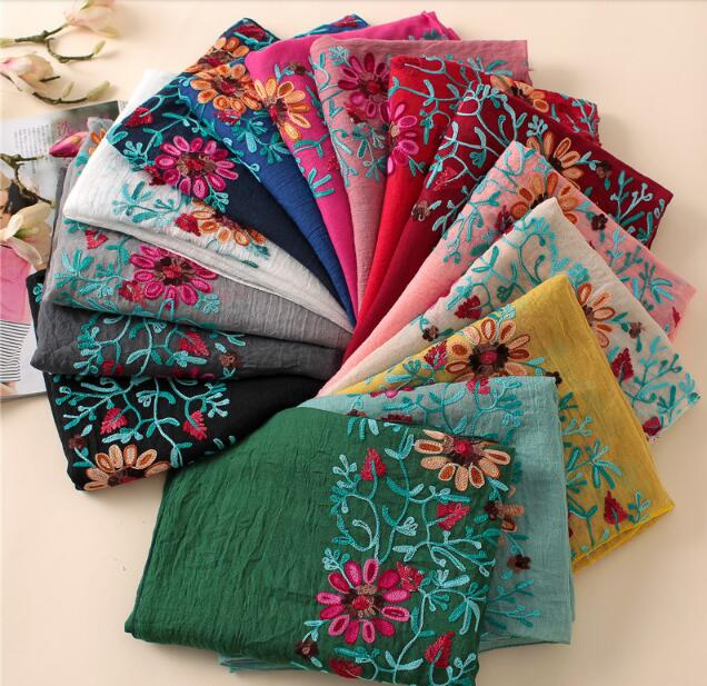 H23 10pcs Flower Embroidery cotton viscose hijab shawl   scarf     wrap   shawls 180*80cm can choose colors