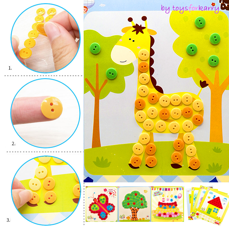 4pcs Kids DIY Button Stickers Drawing Toys Funny Game Handmade Art Class Painting Drawing Craft Kit Children Early Educational