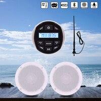 Waterproof Marine Bluetooth Stereo Audio Radio MP3 Player +4 Marine Speaker For ATV SPA Boat Golf Car Motorcycle +FM AM Antenna