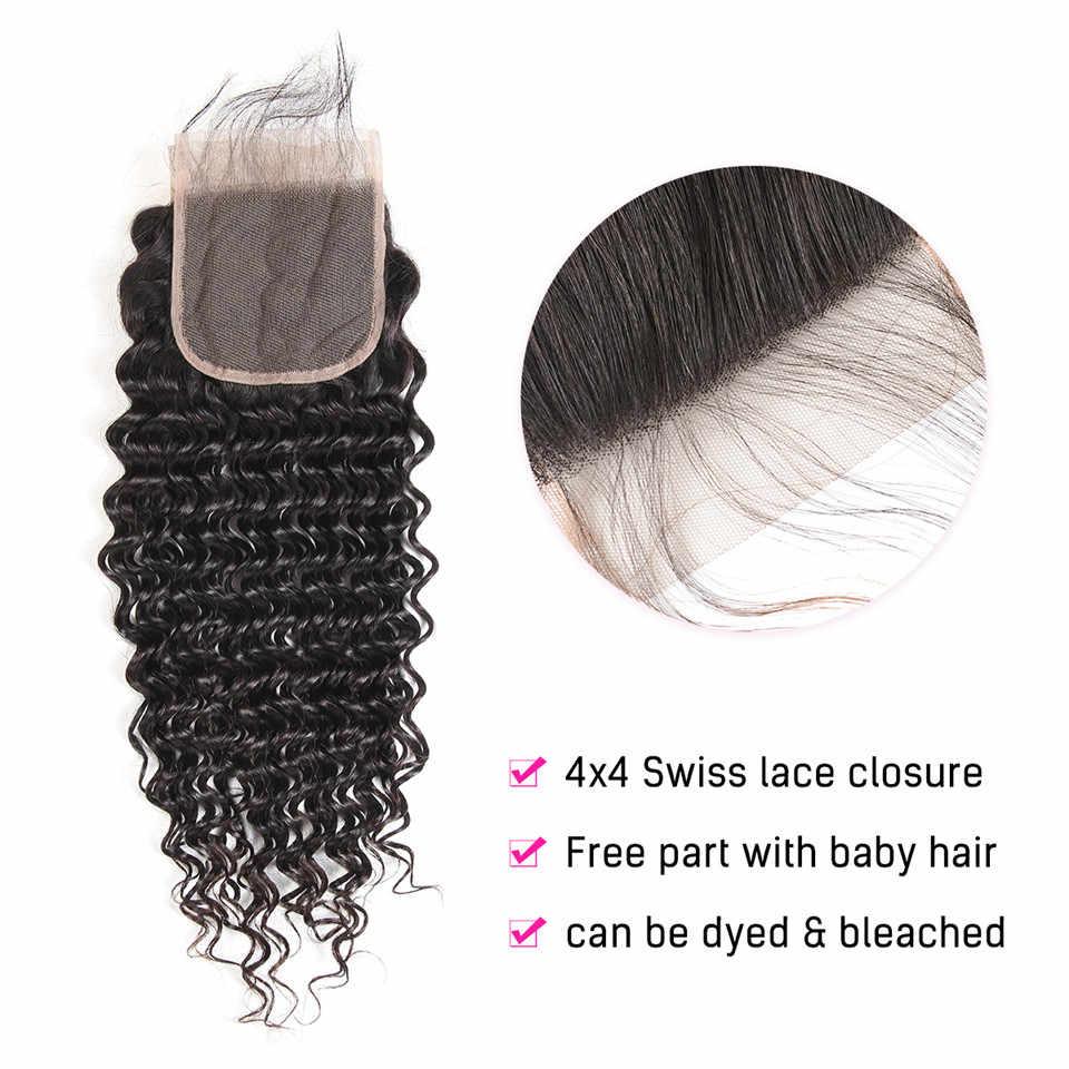 Braziliaanse Diepe Golf Bundels Met Sluiting Niet Remy Human Hair 3 En 4 Bundels Met Vetersluiting Queen Mary Menselijk hair Extensions