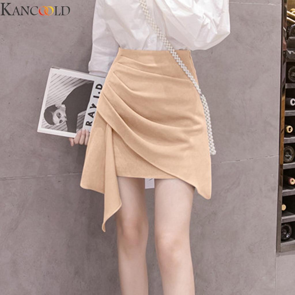 KANCOOLD 2020 NEW Fashion Irregular Hip Skirt Solid High Waist Streetwear Thin Slim Sexy Casual Faldas Mujer Moda Summer