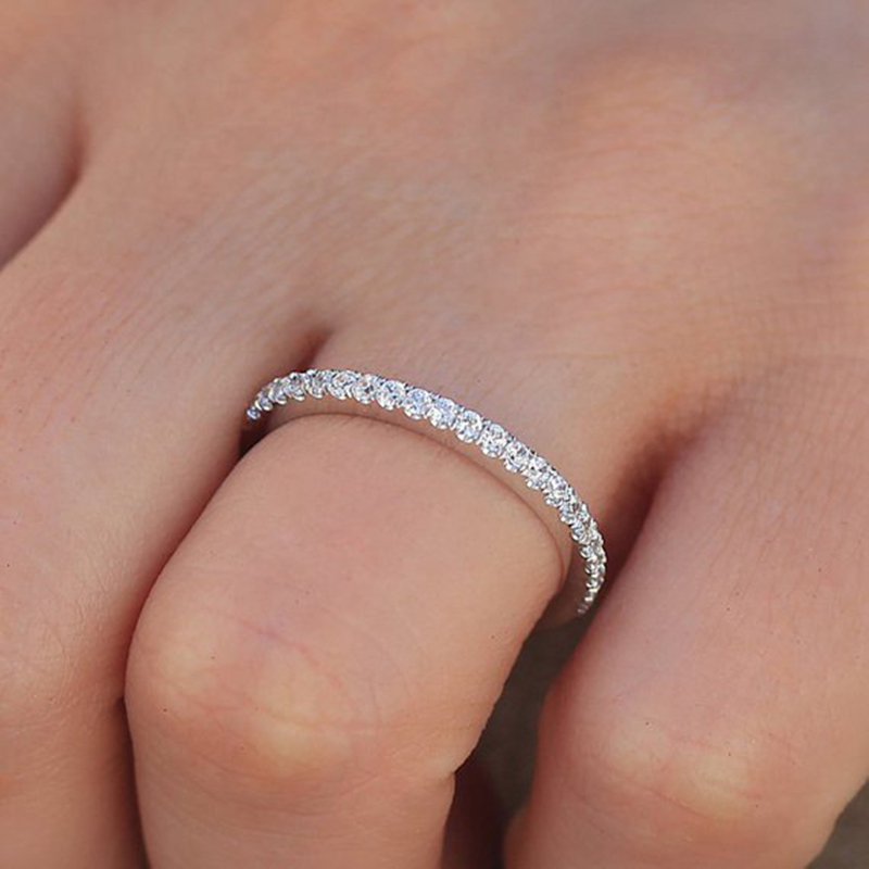 Simple Cubic Zirconia Thin Rings for Woman Elegant Rose Gold color Bridal wedding Party Finger Jewelry girl Gift 5