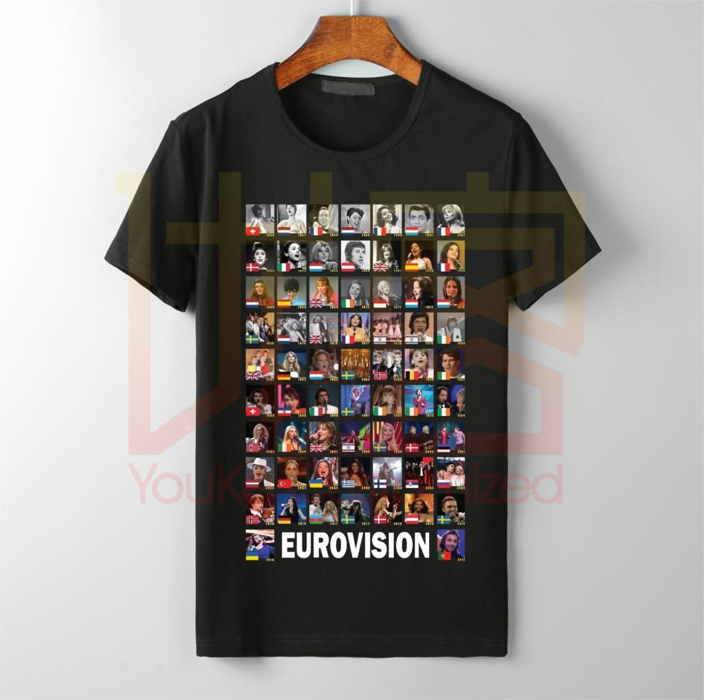 Eurovision Winners 1956-2017 T Shirts Men's Hot Selling O-neck 100% Cotton Custom Printed High Quality Brand Unisex T-shirt
