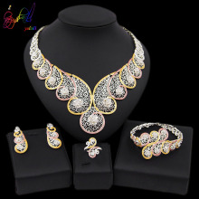 Yulaili High Quality Dubai Gold Jewelry Sets African Nigeria Wedding Bridal Crystal Necklace Earrings Bracelet Ring for Women