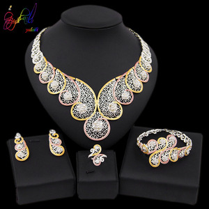 Image 1 - Yulaili High Quality Dubai Gold Jewelry Sets African Nigeria Wedding Bridal Crystal Necklace Earrings Bracelet Ring for Women