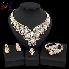 Yulaili Hoge Kwaliteit Dubai Gouden Sieraden Sets Afrikaanse Nigeria Wedding Bridal Kristal Ketting Oorbellen Armband Ring voor Vrouwen