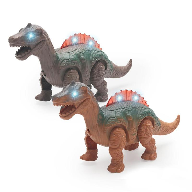 Electric Walking Dinosaur With Light Sounds Simulated Model Animal Kids Toy Flashing Lights Safe Plastic Dinosaur Pets Toys