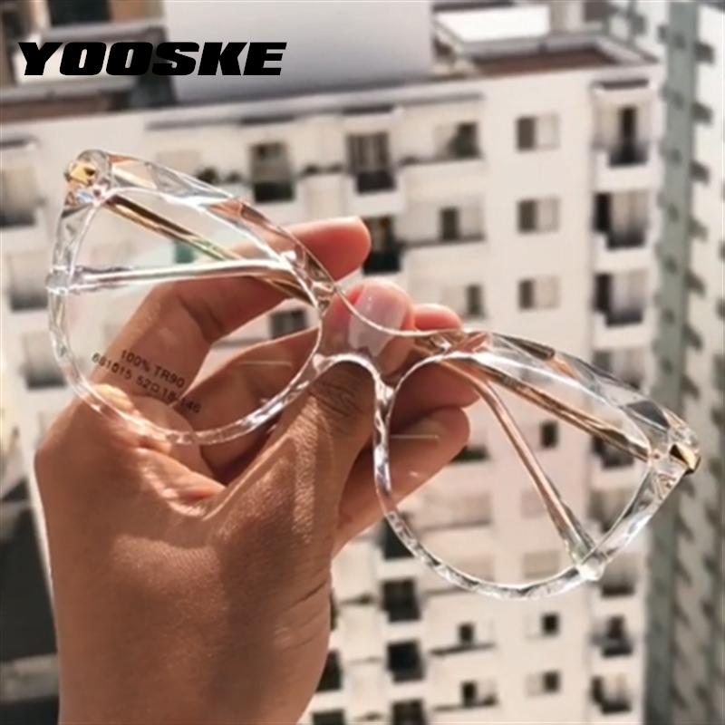 YOOSKE Fashion Cat Eye Glasses Frames Transparent Eyeglasses For Women Sexy Frame Trending Style Brand Optical Computer Eyewear