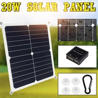 20W Solar Panel Dual USB Output Monocrystalline Silicon 5V Waterproof High Efficiency Car Phone Power Bank Battery Charging