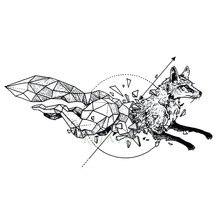 Водостойкая временная татуировка лиса волк волки Кит Сова геометрические