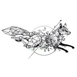 Tatuaje temporal resistente al agua zorro Lobo lobos ballena búho geométrico animal tatto flash tatoo tatuajes falsos para chica mujer chico 7