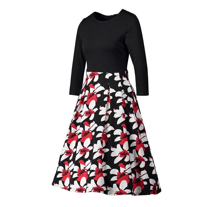 2019 женское весеннее платье с цветочным принтом, повседневное простое летнее длинное платье с 34 рукавами для женщин, модные свободные вечерние платья - 5