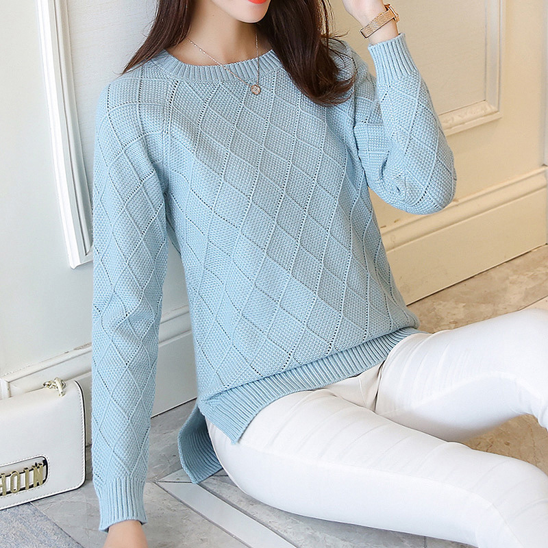 Sweater female Pullovers autumn of 2019 new sweater women's long sleeved Pullover female loose knit short shirt coat blouse title=
