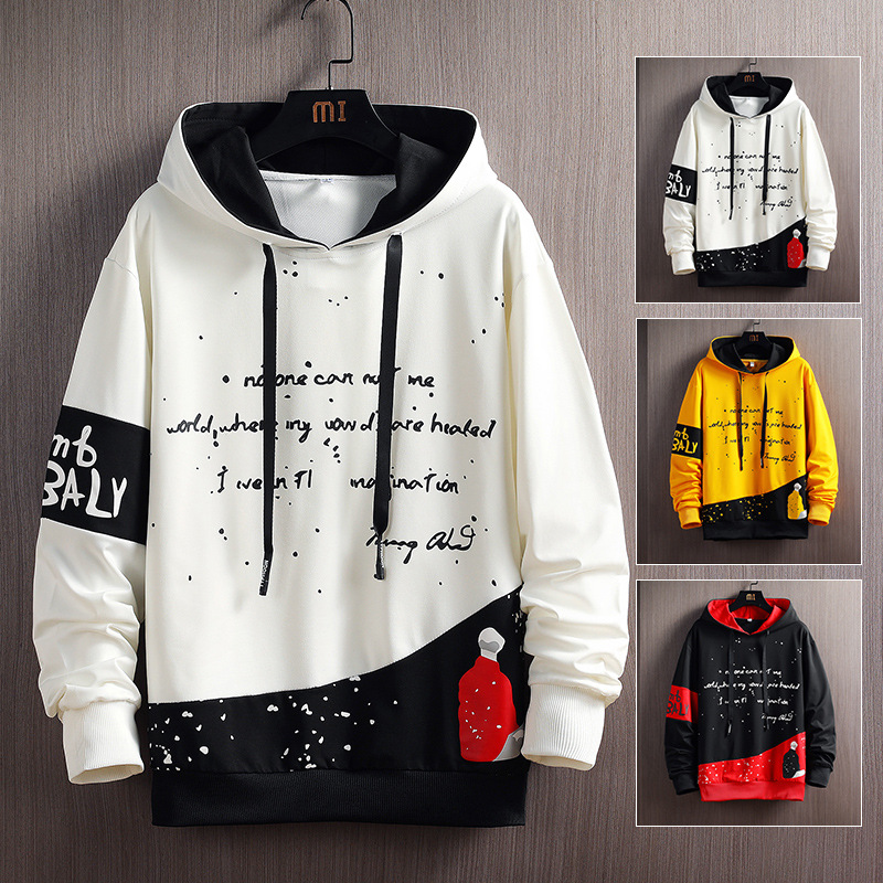 Japan Style Casual O-Neck 2020 Spring Autumn Black White Hoodie Sweatshirt Men'S Thick Fleece Hip Hop High Streetwear Clothes