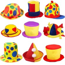 Man Woman Fun Clown Hat Stage Performance  Hair Accessories Caps Carnival Party Clown Cosplay Halloween Costume Top Hat