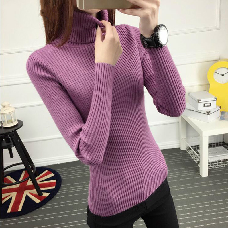 PEONFLY 2019 Winter Thick Warm Turtleneck Women  Pullover Sweater Women Long Sleeve Jumper Female Knitted Tops Ladies Purple