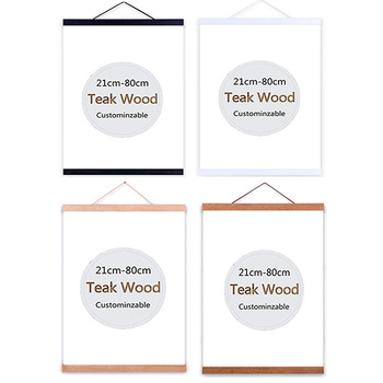 Wooden Poster Hanger Photo Magnetic Frame Four colors DIY Picture Canvas Print Hanging Wall Art Home Decor 21-80cm A4 A3 Custom