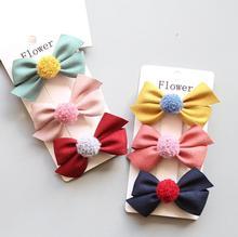 Kids Delicate Barrettes Fashion Winter New Bowknot Pom Ball Hair Clips Glitter Hairpins Princess  Accessories Headwear J105