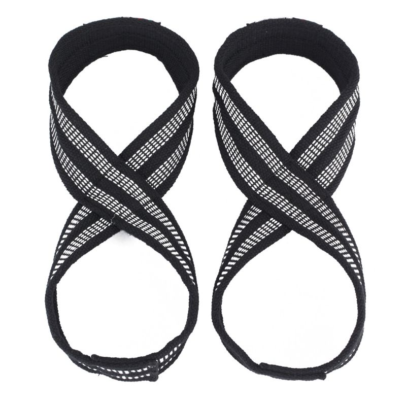 2pcs Figure 8 Weight Lifting Strap Dead Lift Wrist Belt For Gym Fitness Training