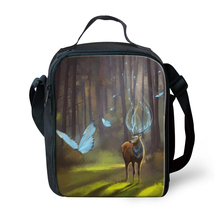 HaoYun Children School Insulated Lunch Bags Kawaii Deer Pattern Toddler Waterproof Box Family Outdoor Picnic Container