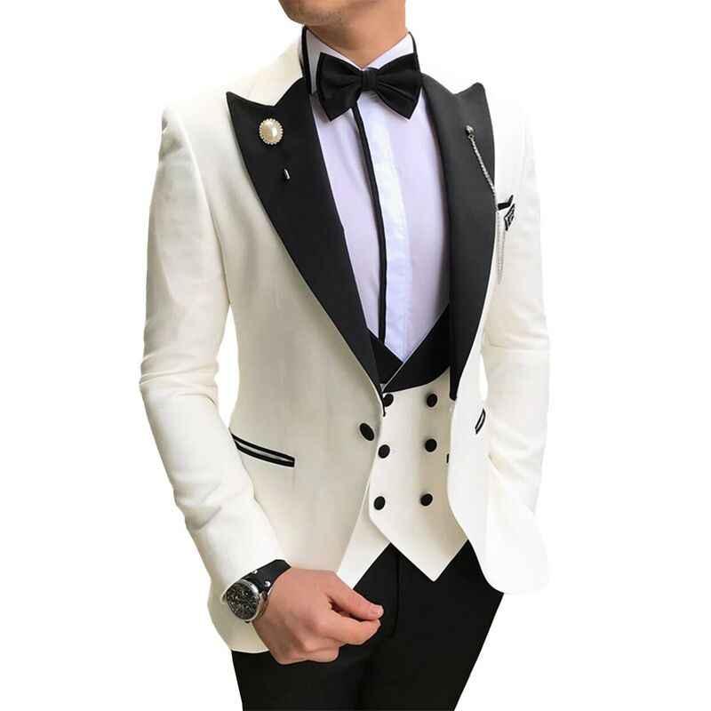 Mannen Pakken 3 Pieces Slim Fit Pakken Bruidegom Champagne Noble Grijs Wit Smoking Voor Formele Bruiloft Pak (Blazer + Broek + Vest)