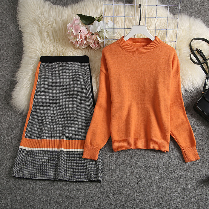 ALPHALMODA 2019 Autumn New Arrived Women Knitting Sweater Skirt Suits Bright Color Youthful Winter Knitting Outfit 2pcs Set 130