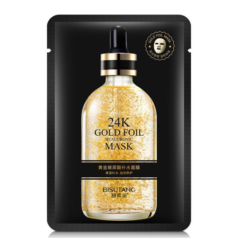 10 Pieces 24k Gold Hyaluronic Acid Facial Masks Moisturizing Hydration Oil-control Anti-Aging Shrink Pore Depth Replenishment-1