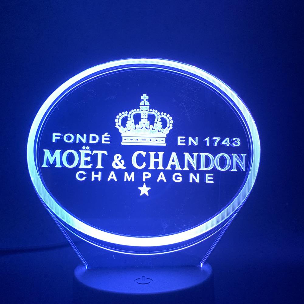 3d Led Night Light Moet Et Chandon Champagne Lamp Indoor Decoration Color Changing Touch Sensor Remote Controller Lamp