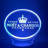 3d led night light moet et chandon champanhe lâmpada decoração interior mudança de cor sensor toque controle remoto lâmpada|Chips de LED| |  -