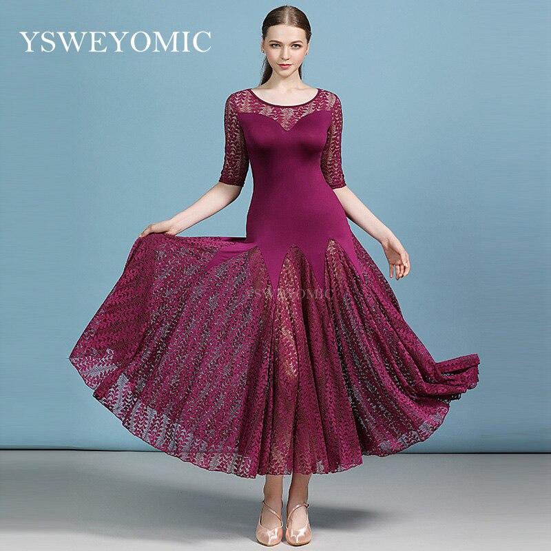 Lady Middle Sleeves Red  Standard Woman Ballroom Dance Competition Suit Standard Waltz Modern Tango Ballroom Dress For Women
